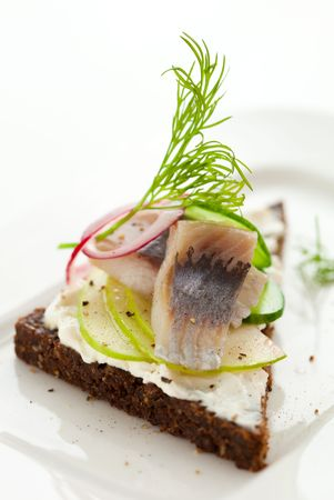 Herring sandwich with apple,cucumber and soft cheese