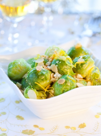 Brussels sprouts with flaked almonds and lemon zest for Christmas
