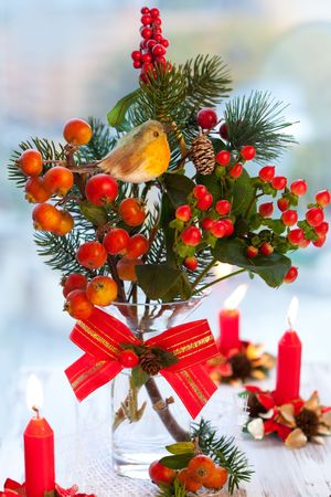 Christmas arrangement of ornamental apples(malus),fir branch and holly in vase Stock Photo - 8015348