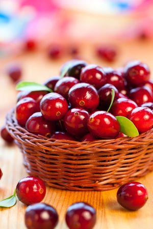 arandanos rojos: Frescos arándanos rojos con hojas en la cesta