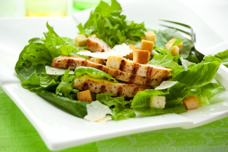 chicken caesar salad: Chicken Caesar salad  on the white plate Stock Photo