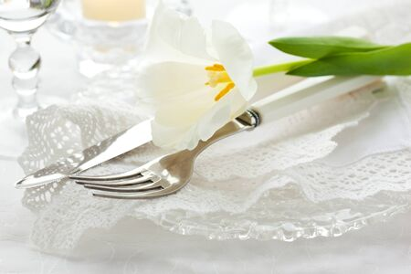Festive place-setting with white tulip and napkin photo