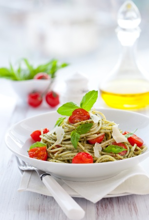 vegetarian: spaghetti with  pesto sauce,cherry tomato and cheese