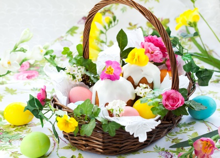 Easter basket with  eggs,cake and flowers photo