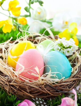 colorful Easter Eggs in a nest on the grass photo