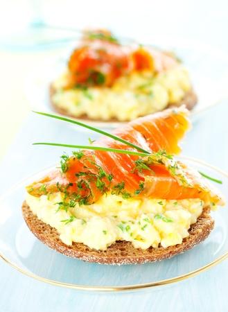 scrambled: Scrambled egg and smoked salmon on toast