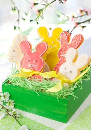 Homemade Easter bunny cookies in gift box photo