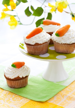 easter cookie: Easter carrot cupcakes on a cakestand Stock Photo