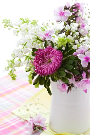 still life flowers: Spring arrangement of aster,phlox and lilac