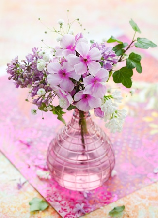 glass vase: beautiful spring flowers in a vase Stock Photo