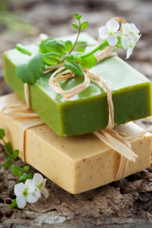 vertical bars: Natural Handmade Soap with herbs