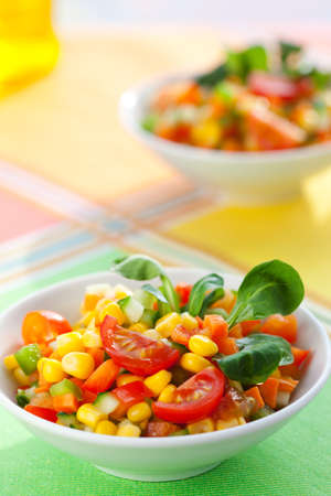 fresh vegetable salad with corn,carrot,tomato,cucumber and sweet pepper Stock Photo - 9549698