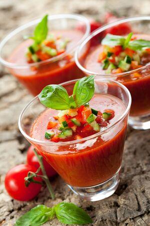 delicious cold Gazpacho soup in glasses