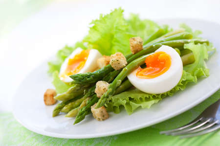 fresh salad with asparagus,eggs and croutons photo