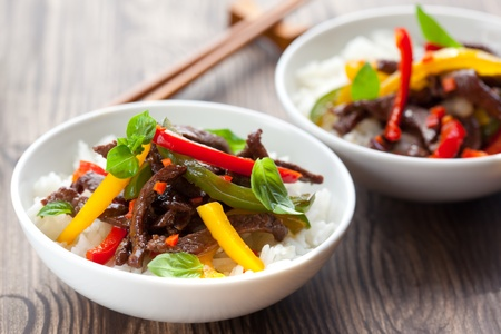 oriental food: beef stir-fry with vegetable and rice