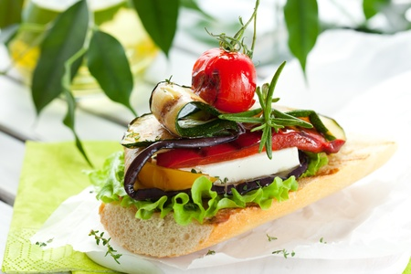 Grilled vegetables with cheese on toast Stock Photo