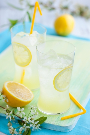 cold fresh lemonade with ice photo