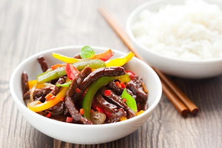 beef stir-fry with vegetable and rice Reklamní fotografie