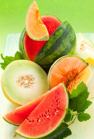melon fruit: assorted melons and watermelon on the table