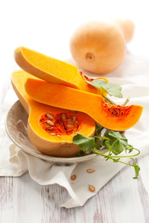 butternut: Butternut squash, whole and halved Stock Photo