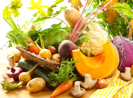food basket: Still life with autumn vegetables Stock Photo