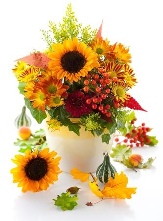 compositions: natura morta con fiori autunnali e bacche