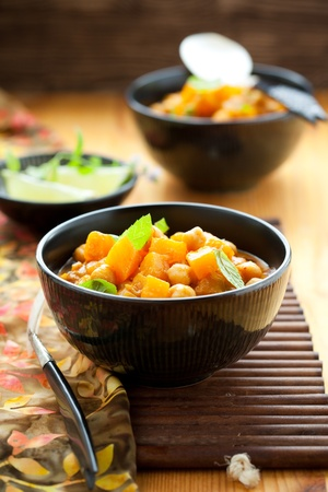 vegetarian: Pumpkin curry with chick-peas