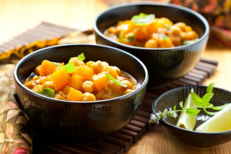 Pumpkin curry with chick-peas photo