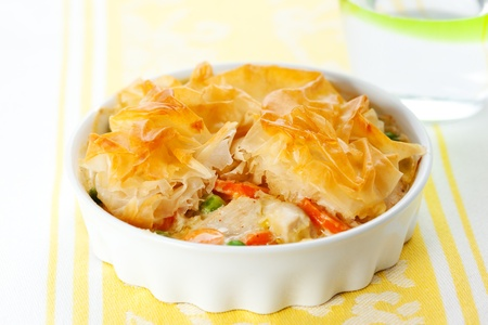cream pie: Creamy mustard chicken pot pie with vegetables  and filo Stock Photo