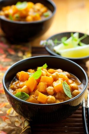 vegetable curry: Pumpkin curry with chick-peas