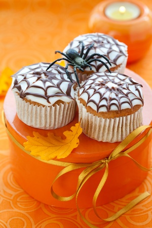 Halloween spider web cupcake photo