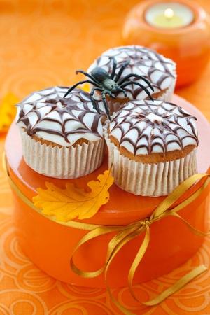 Halloween spider web cupcake photo