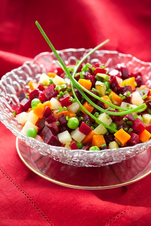 Salad with beetroot,potatoes,carrots and cucumber (Russian Beet Salad- Vinegret) photo