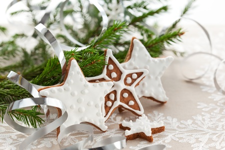 holiday cooking: Homemade Christmas cookie stars with decoration