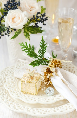 A festive table laid for Christmas photo
