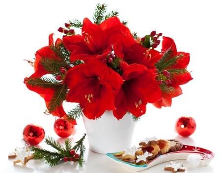arreglo floral: amaryllis rojo en florero con adornos navideños Foto de archivo