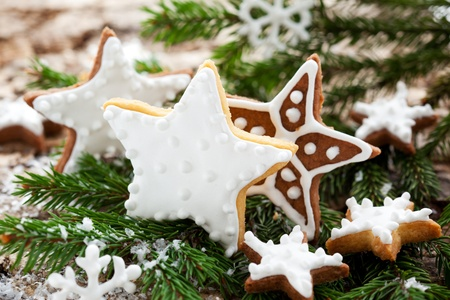 Homemade Christmas cookie stars with decoration photo