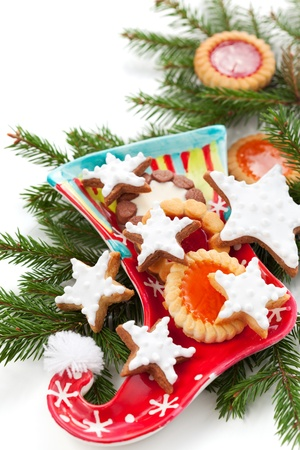 Christmas stocking with Christmas cookies Stock Photo - 10683990