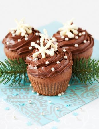 noel chocolat: Petit g�teau de No�l au chocolat d�cor� avec des flocons de neige Banque d'images