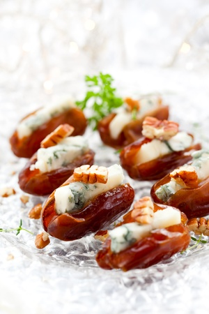 antipasti: dates stuffed with blue cheese for holiday