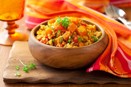 Bulgur  with tomatoes and  butternut squash