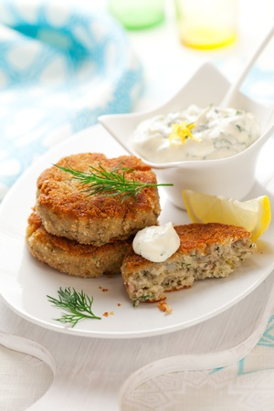 fresh food fish cake: Cod Fish Cakes with sauce Stock Photo