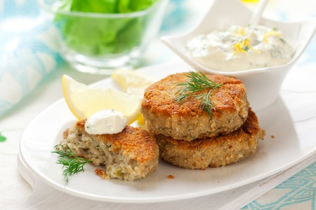 Cod Fish Cakes with sauce photo