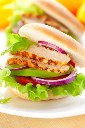 sandwich with chicken,avocado and tomato photo