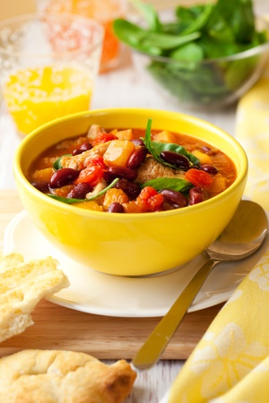 ragout: Turkey and red bean ragout with pumpkin,tomatoes and spinach