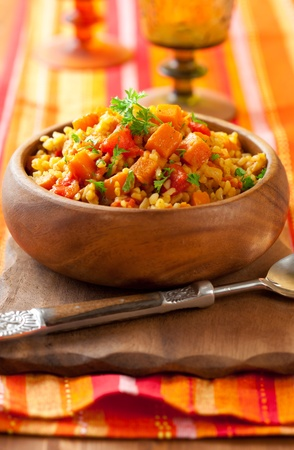 Bulgur  with tomatoes and  butternut squash photo