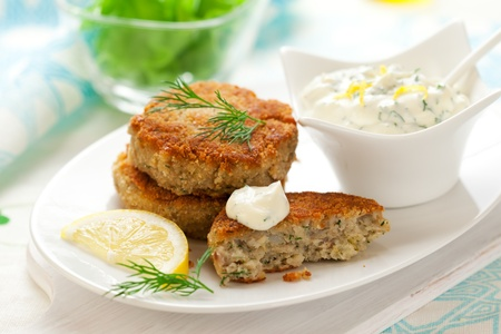 Cod Fish Cakes with sauce Stock Photo
