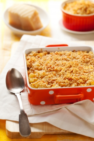 Baked macaroni and cheese in baking dish photo