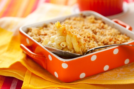 casserole dish: Baked macaroni and cheese in baking dish