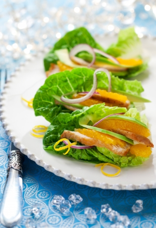 Chicken salad on lettuce leaves for holiday photo